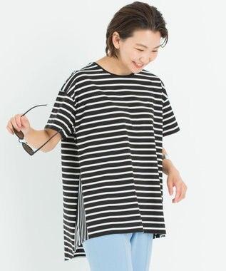 【洗える】コットン ビックシルエット ボーダー Tシャツ