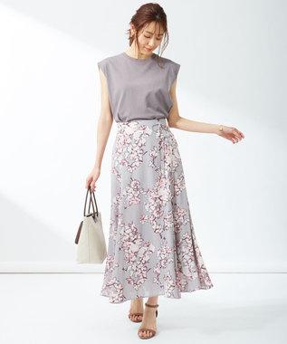 組曲 S 【洗える】アートタッチフラワープリント スカート(KM27) ライトグレー系5