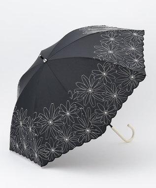 any SiS 【晴雨兼用】マーガレット刺繍 長傘 ブラック系