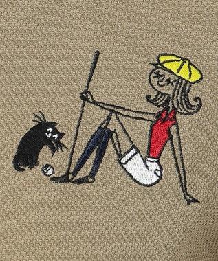 23区GOLF 【WOMEN】【吸汗速乾/UV】25周年 イラストレーターコラボ刺繍 シャツ ベージュ系