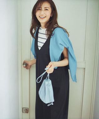 組曲 S 【洗える】フェルガナコットン ボタニカルダイ ホールガーメント カーディガン ブルー系