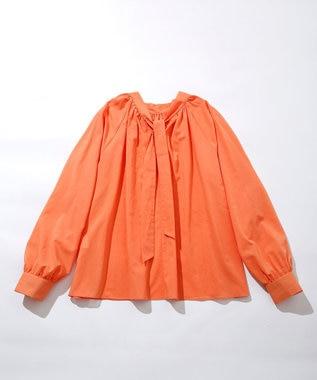 23区 L 【洗える】ドライコットンボイル ボウタイ ブラウス オレンジ系