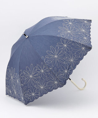 any SiS 【晴雨兼用】マーガレット刺繍 長傘 ネイビー系