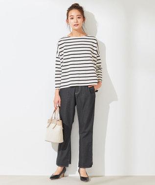 any SiS S 【L'aube】 バスクシャツ カットソー オフホワイト×ブラック