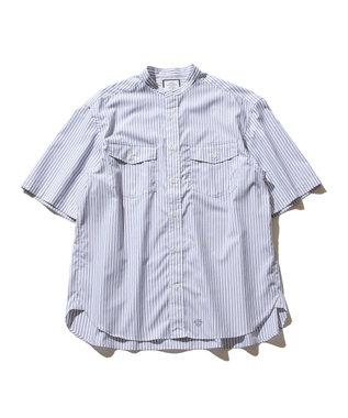 J.PRESS YORK STREET 【UNISEX】ブロードストライプ バンドカラーシャツ ブルー系1