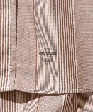 J.PRESS YORK STREET 【UNISEX】ブロードストライプ バンドカラーシャツ ブラウン系1