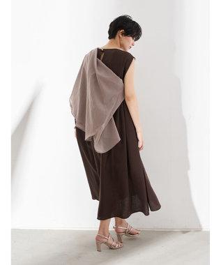 YECCA VECCA レーヨン麻Aラインワンピース Dark Brown