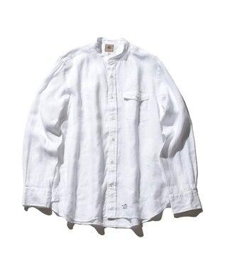 J.PRESS MEN ノルマンディーリネンバンドカラー シャツ ホワイト系