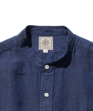 J.PRESS MEN ノルマンディーリネンバンドカラー シャツ ネイビー系