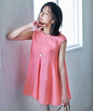 23区 L 【中村アンさん着用】LIBECO ノースリーブ ブラウス(番号2K22) ピンク系