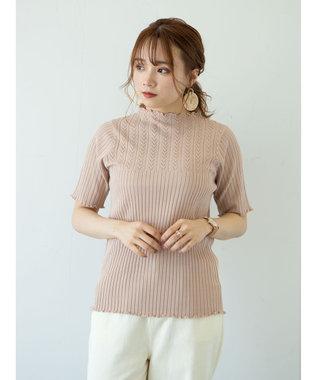 earth music&ecology 透かし編みニットプルオーバー(メロー) Pink Beige