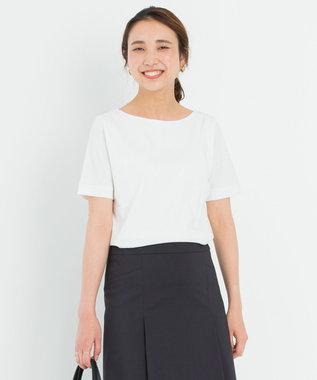 23区 【洗える】DOUBLE SMOOTH ボートネック Tシャツ ホワイト系