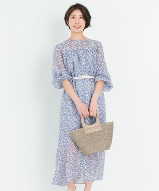 23区 【マガジン掲載】シアーフラワープリント ワンピース(番号2F26) ブルー系