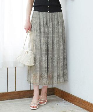 【洗える】フラワーボーダーレース スカート