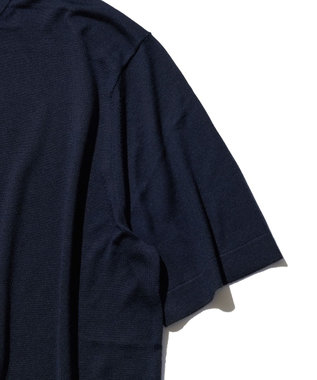 J.PRESS MEN ニット シルクTシャツ ネイビー系