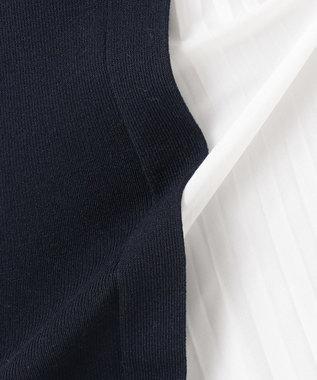 組曲 L 【洗える】CO/PE プリーツコンビ ニットスカート ネイビー系1
