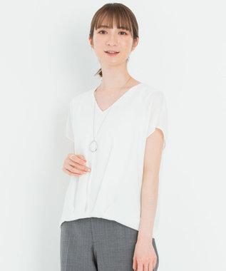 23区 【洗える】シルキーデシン Vネック半袖 ブラウス ホワイト系