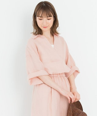 23区 【一部店舗限定】LIBECO スキッパー シャツ ローズ系
