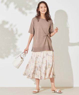any SiS S 【洗える】ツイストポイントチュニック ニット ライトモカ