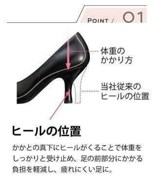success walk サクセスウォーク ヒール高3.5cm ベーシックパンプス  /ワコール WFN300 ブラック