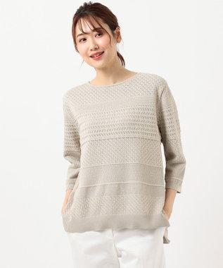 J.PRESS LADIES 【洗える】レーシーパターン ニット ベージュ系