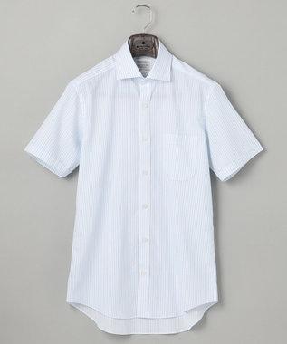 【盛夏用】SUMMER PREMIUMPLEATS_サックスストライプ_半袖ドレスシャツ