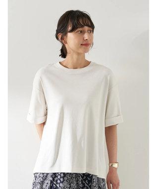 earth music&ecology スムースバックスリットTシャツ Off White