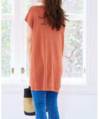 Tiaclasse L 【洗える】さらりと肌離れの良いフレンチスリーブニットチュニック オレンジ