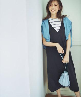 組曲 S 【洗える】ハイストレッチポンチ ジャンパースカート ワンピース ネイビー系