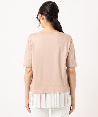自由区 ストライプシャツ 重ね着風  プルオーバー Tシャツ ピンク系