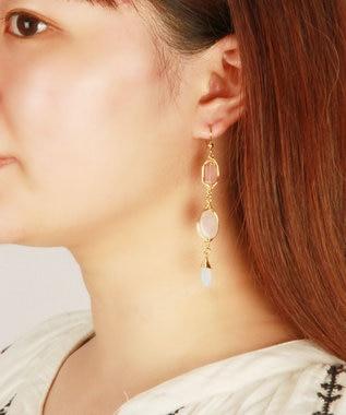 WYTHE CHARM 【6月誕生石】ムーンストーン×天然石ミックスピアス ピンク