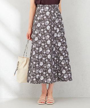 【洗える】スモーキートーンフラワー スカート