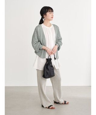 earth music&ecology C/Rギャザーブラウス Off White