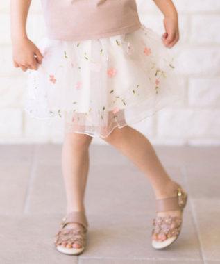 花モチーフチュールスカート