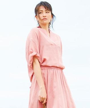 23区 【一部店舗限定】LIBECO スキッパー シャツ オールドローズ系