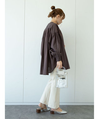 earth music&ecology C/Rギャザーブラウス Brown