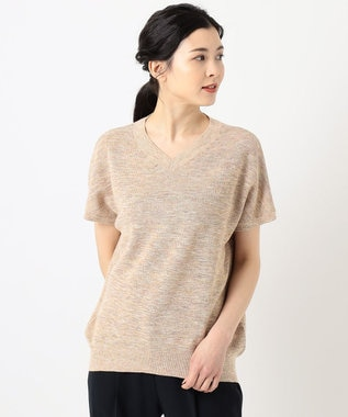 J.PRESS LADIES 【洗える】リネンコットン片畦 ニット オレンジ系