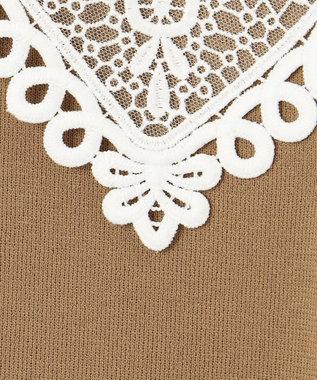 GRACE CONTINENTAL 刺繍衿ニットノースリーブトップ ベージュ