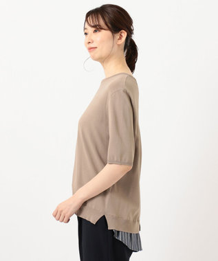 J.PRESS LADIES L 【洗える】シャインバックキュプラ ニット ブラウン系