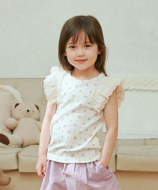 any FAM KIDS 肩レース Tシャツ エクリュ(花柄)