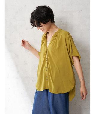 YECCA VECCA ・レーヨンローンバックシャーリングシャツ Yellow