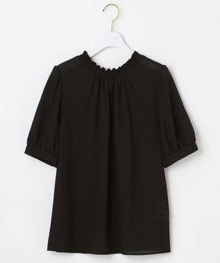 any SiS 【2WAY】シャーリングネックシアー ブラウス ブラック系