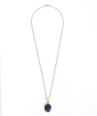 WYTHE CHARM 【フランス天然石ペンダント】ラピスラズリ楕円ネックレス シルバー