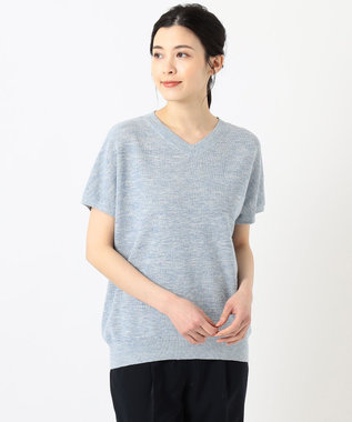 J.PRESS LADIES 【洗える】リネンコットン片畦 ニット サックスブルー系