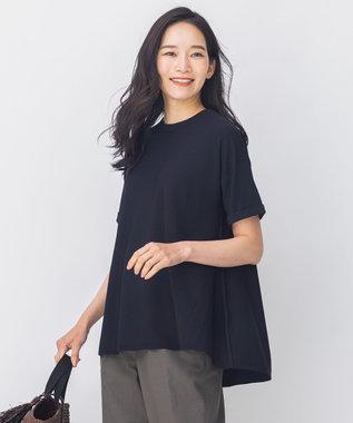【洗える】Tシャツライク フレアーニット