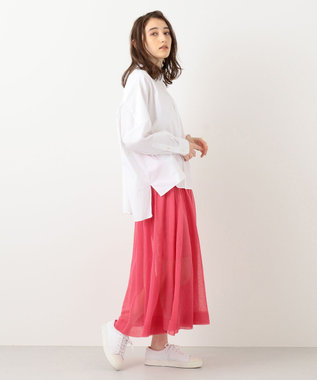 #Newans 【洗える】シアーニットスカート ピンク系
