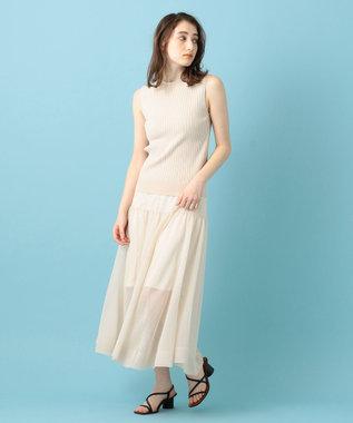 #Newans 【洗える】シアーニットスカート アイボリー系
