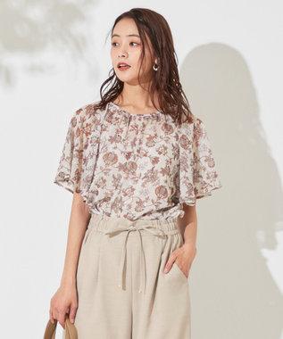 any SiS L 【洗える】カットドビーサラサプリント ブラウス オレンジブラウン