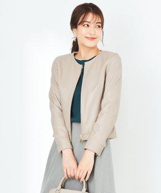 any SiS 【本革】ノーカラーラムレザー ジャケット