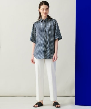 JOSEPH 【柚香 光さん着用・洗える】ベルベルプリント シャツ ネイビー系5